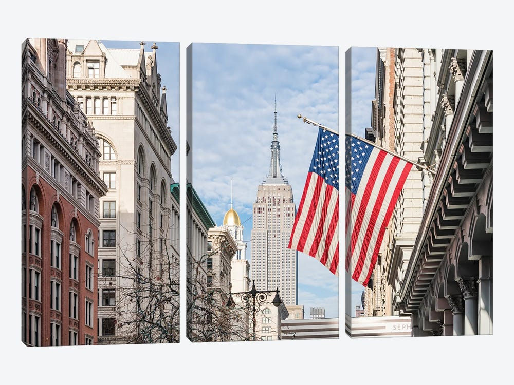 Empire State Building And American Flag, Fifth Avenue, New York City by Jan Becke 3-piece Art Print