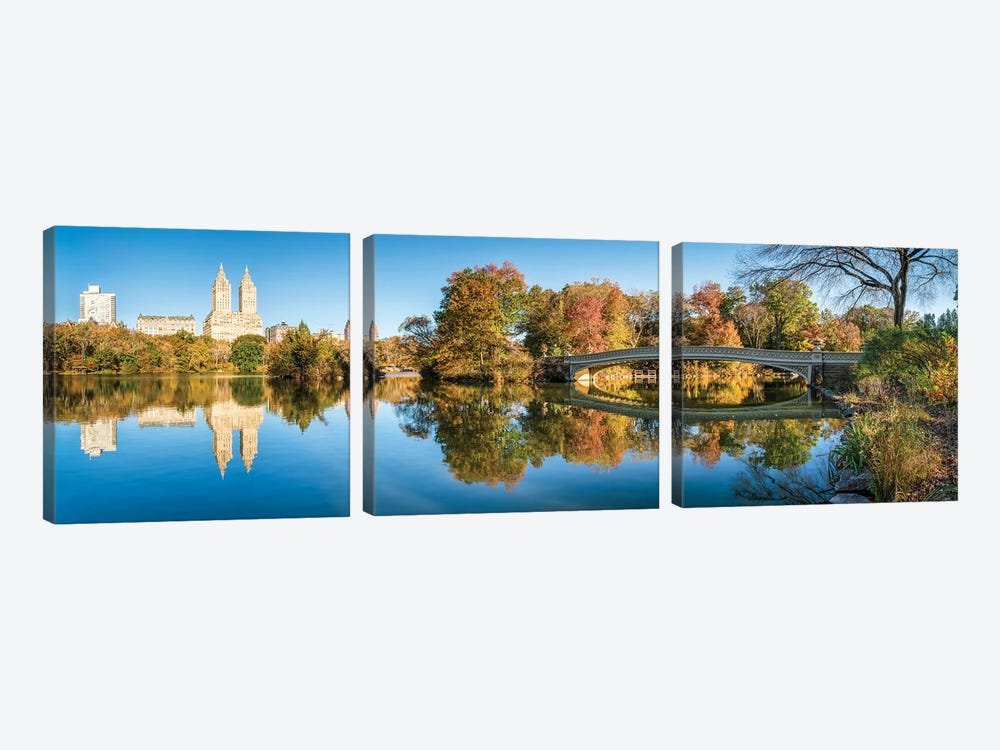 Bow Bridge At The Lake In Central Park, New York City, USA by Jan Becke 3-piece Canvas Artwork