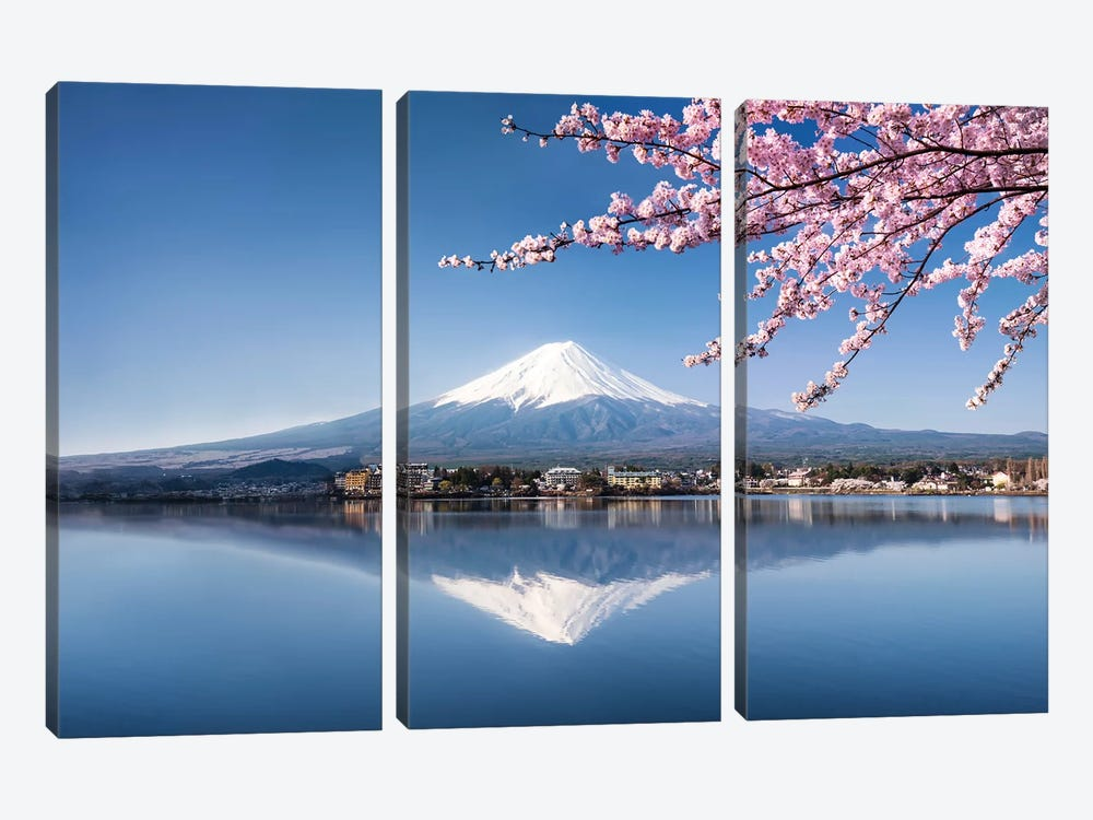 Mount Fuji In Spring by Jan Becke 3-piece Canvas Art