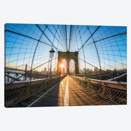 Sunrise At The Brooklyn Bridge, New York City, USA Canvas Print #JNB790} by Jan Becke Art Print