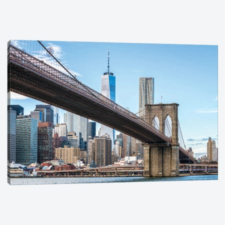 Brooklyn Bridge And One World Trade Center, New York City, USA Canvas Print #JNB791} by Jan Becke Art Print
