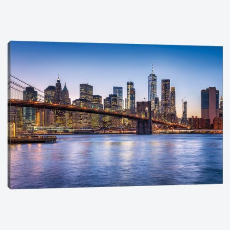 Brooklyn Bridge And Manhattan Skyline At Dusk Canvas Print #JNB792} by Jan Becke Canvas Print