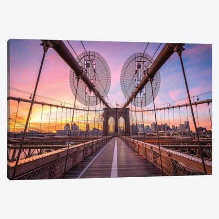Sunrise At The Brooklyn Bridge In New York City Canvas Print #JNB795} by Jan Becke Canvas Art