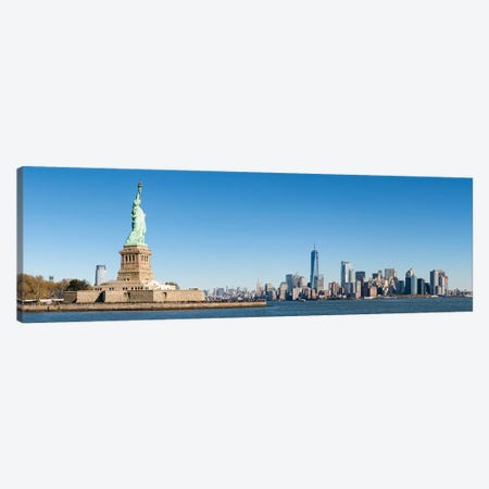 Statue Of Liberty In Front Of The Manhattan Skyline Canvas Print #JNB797} by Jan Becke Canvas Art