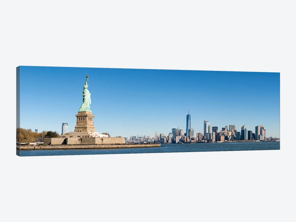 Statue Of Liberty In Front Of The Manhattan Skyline by Jan Becke 1-piece Canvas Wall Art