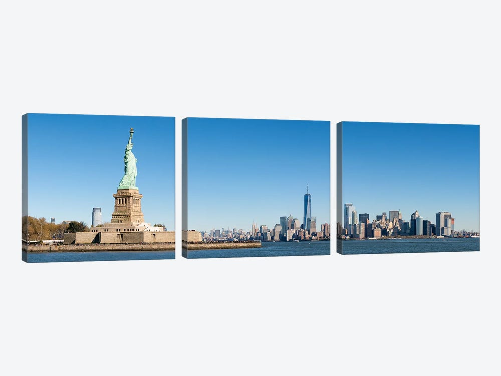 Statue Of Liberty In Front Of The Manhattan Skyline by Jan Becke 3-piece Canvas Artwork