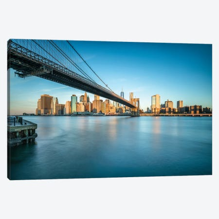 Brooklyn Bridge And Manhattan Skyline At Sunrise Canvas Print #JNB800} by Jan Becke Canvas Print