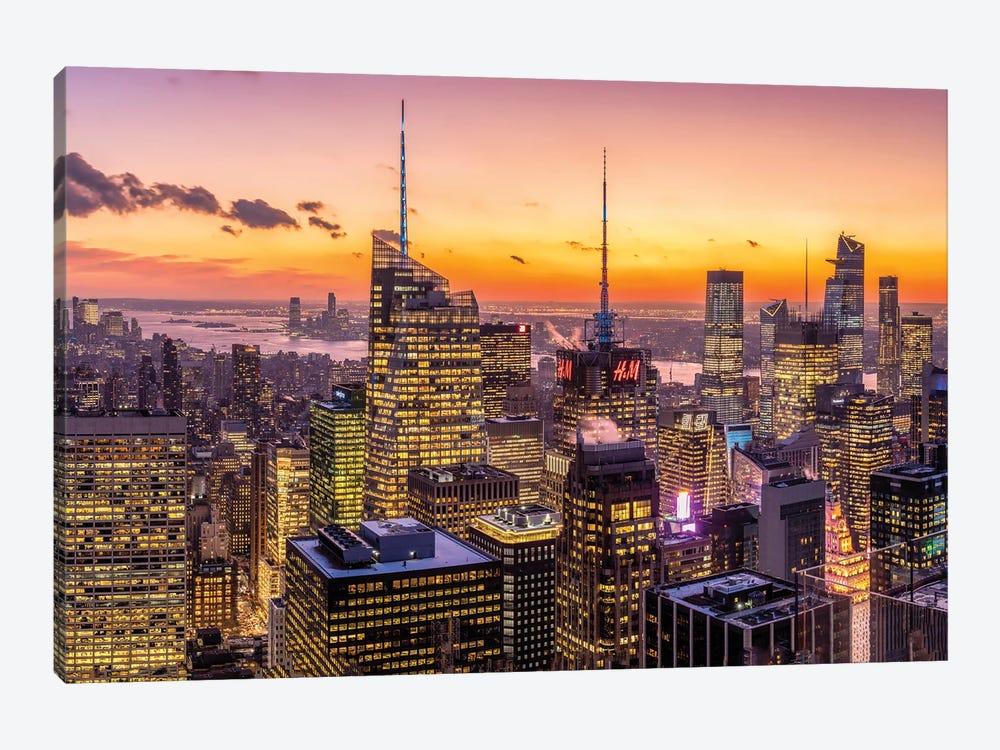Manhattan Sunset View by Jan Becke 1-piece Canvas Art Print