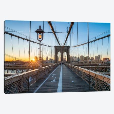 Brooklyn Bridge Sunrise In Winter Canvas Print #JNB802} by Jan Becke Art Print