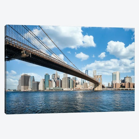 The Brooklyn Bridge Spans Across The East River And Connects Brooklyn With Manhattan Canvas Print #JNB819} by Jan Becke Canvas Artwork