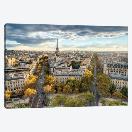 Paris Skyline In Autumn Canvas Print #JNB81} by Jan Becke Canvas Print