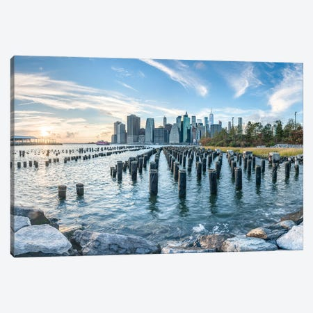 Manhattan Skyline Seen From Pier 1, Brooklyn Bridge Park, New York City Canvas Print #JNB824} by Jan Becke Canvas Art