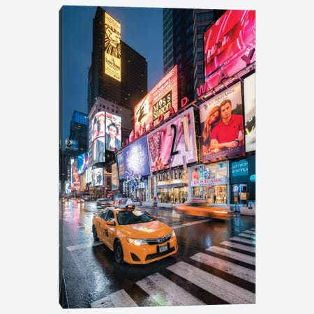 Yellow Cabs At The Broadway, New York City, USA Canvas Print #JNB826} by Jan Becke Canvas Artwork