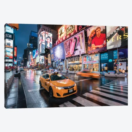 Yellow Cabs At Broadway, Times Square, New York City, USA Canvas Print #JNB830} by Jan Becke Canvas Artwork
