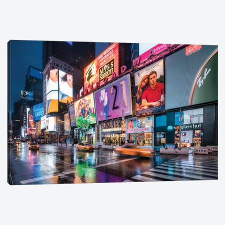 Colorful Billboards At Night At Broadway, Times Square, New York City, USA Canvas Print #JNB832} by Jan Becke Canvas Art