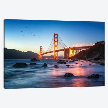 Golden Gate Bridge At Dusk, San Francisco, New York City, USA Canvas Print #JNB840} by Jan Becke Art Print