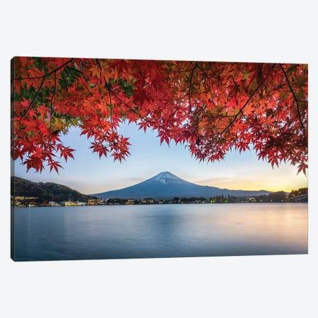 Mount Fuji At Sunset During Autumn Season, Lake Kawaguchiko, Yamanashi Prefecture, Japan Canvas Print #JNB841} by Jan Becke Art Print