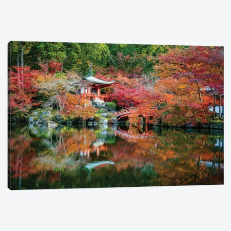 Autumn Leaves At The Daigo-Ji Temple In Kyoto, Japan Canvas Print #JNB844} by Jan Becke Canvas Wall Art