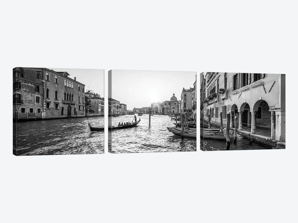 Gondola Ride Along The Grand Canal In Venice, Italy by Jan Becke 3-piece Canvas Wall Art