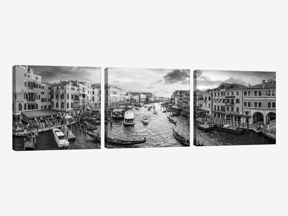 Panoramic View Of The Grand Canal At Sunset, Venice, Italy by Jan Becke 3-piece Canvas Print