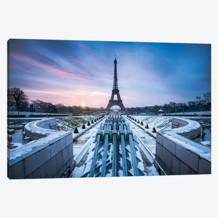 Jardins Du Trocadéro And Eiffel Tower In Winter, Paris, France Canvas Print #JNB866} by Jan Becke Canvas Artwork