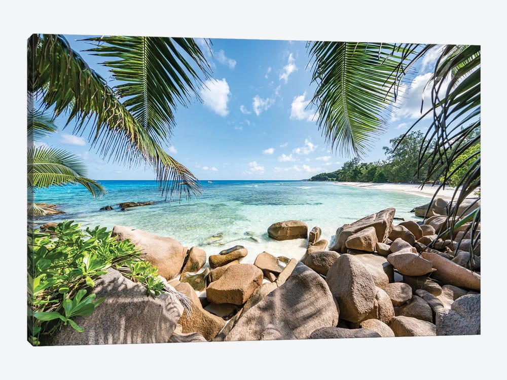 Red Rocks At The Anse Lazio by Jan Becke 1-piece Canvas Print