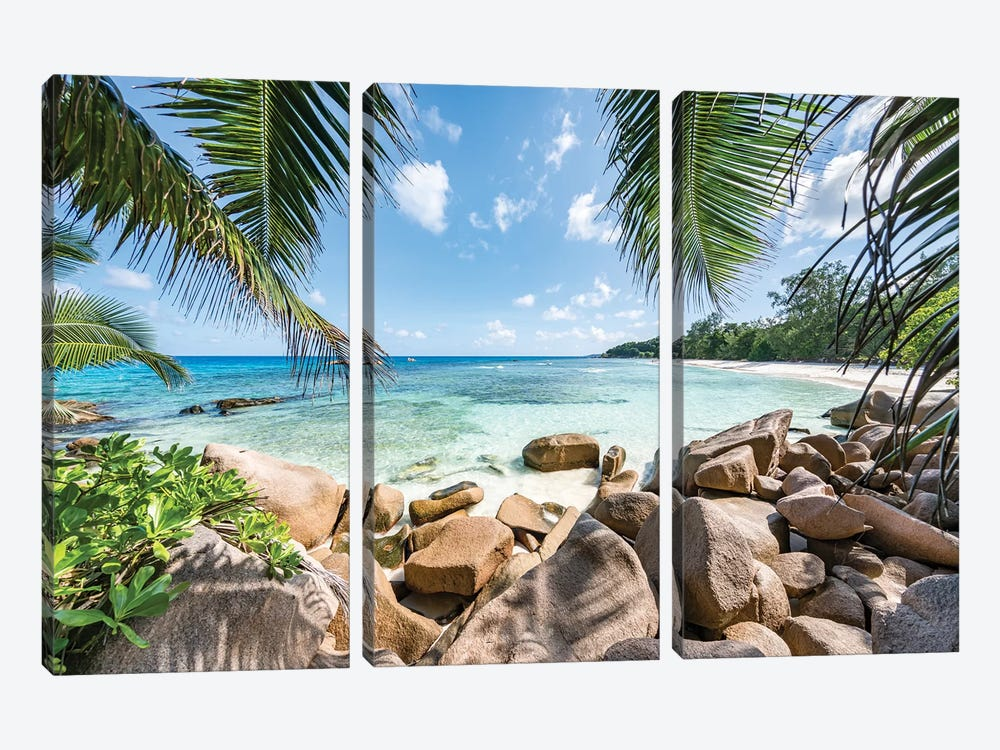 Red Rocks At The Anse Lazio by Jan Becke 3-piece Canvas Print