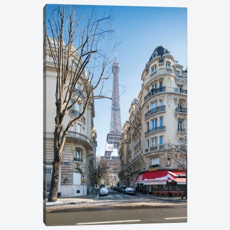 Rue De Buenos Aires With View Of The Eiffel Tower In Winter, Paris, France Canvas Print #JNB874} by Jan Becke Canvas Art Print