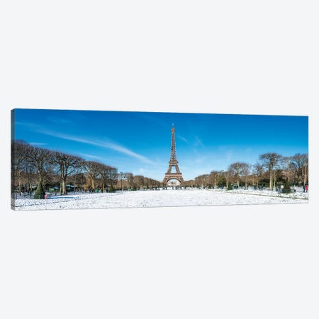 Panoramic View Of Champs De Mars And Eiffel Tower In Winter, Paris, France Canvas Print #JNB876} by Jan Becke Canvas Print