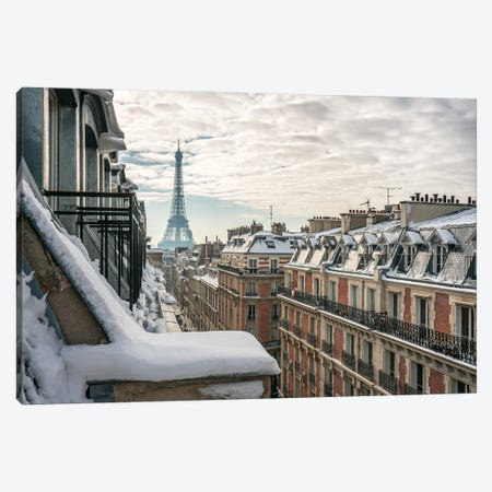 Rooftops Of Paris In Winter With View Of The Eiffel Tower Canvas Print #JNB878} by Jan Becke Canvas Wall Art