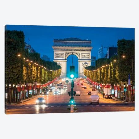 Arc De Triomphe And Avenue Des Champs-Élysées At Night, Paris, France Canvas Print #JNB889} by Jan Becke Canvas Print