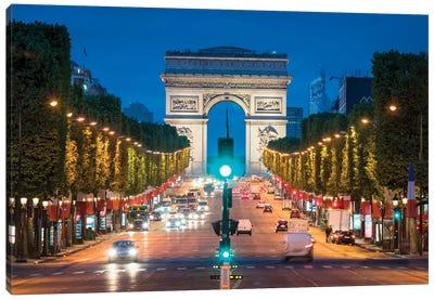 Arc De Triomphe And Avenue Des Champs-Élysées At Night, Paris, France Canvas Art Print