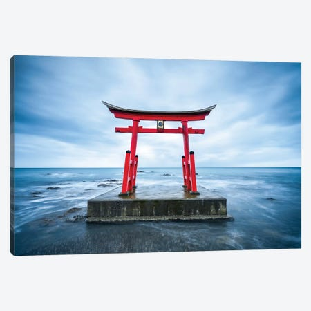 Red Torii Gate In Shosambetsu Canvas Print #JNB88} by Jan Becke Canvas Print