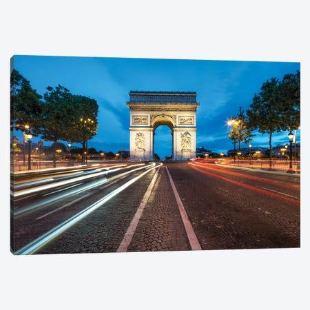 Arc De Triomphe And Avenue Des Champs-Élysées At Dusk Canvas Print #JNB891} by Jan Becke Canvas Artwork
