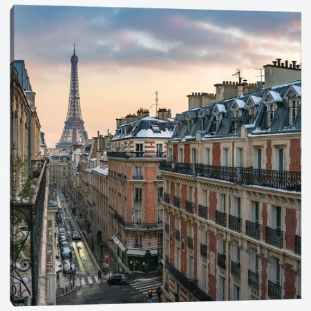 Balcony With A View Of The Eiffel Tower In Paris Canvas Print #JNB893} by Jan Becke Canvas Artwork