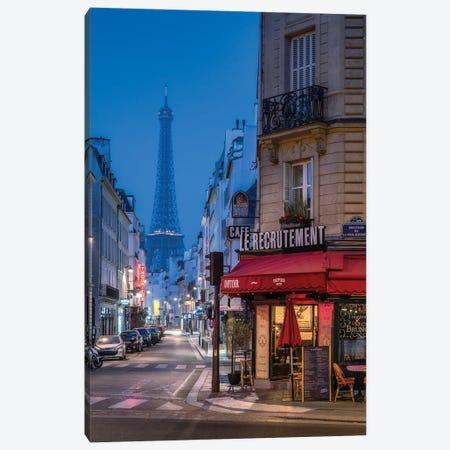 Rue Saint-Dominique And Eiffel Tower At Night, Paris, France Canvas Print #JNB895} by Jan Becke Canvas Print