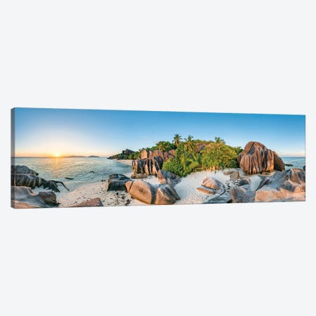Beach Anse Source D'Argent At Sunset Canvas Print #JNB8} by Jan Becke Canvas Print