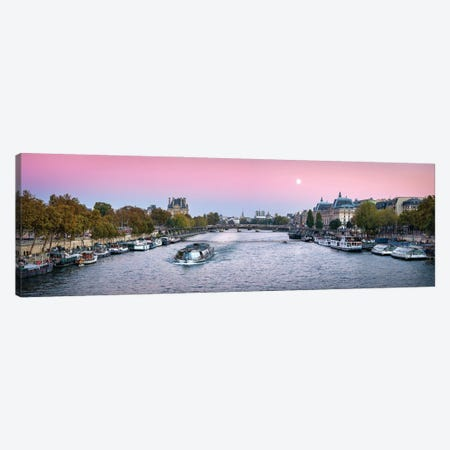 Panoramic View Of The Banks Of The Seine With Notre Dame In The Background, Paris, France Canvas Print #JNB904} by Jan Becke Canvas Art Print
