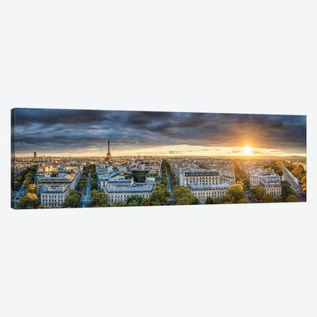 Paris Skyline Panorama At Sunset With View Of The Eiffel Tower Canvas Print #JNB905} by Jan Becke Art Print