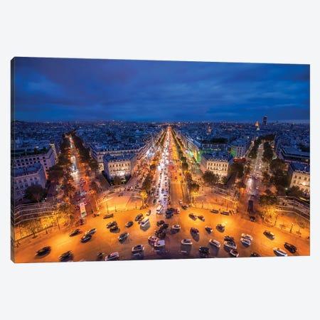 Avenue Des Champs-Élysées At Night, Paris, France Canvas Print #JNB907} by Jan Becke Art Print
