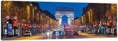 Avenue Des Champs-Élysées And Arc De Triomphe At Night, Paris, France Canvas Art Print