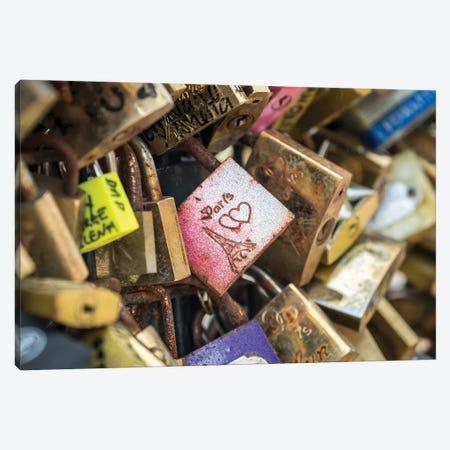 Love Locks At The Pont Des Arts, Paris, France Canvas Print #JNB916} by Jan Becke Canvas Wall Art
