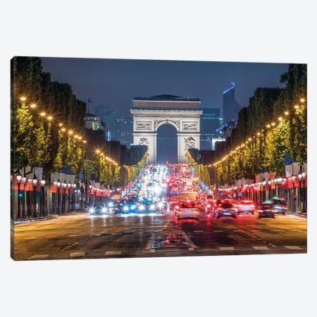 Arc De Triomphe And Avenue Des Champs-Élysées At Night, Paris, France Canvas Print #JNB921} by Jan Becke Canvas Art
