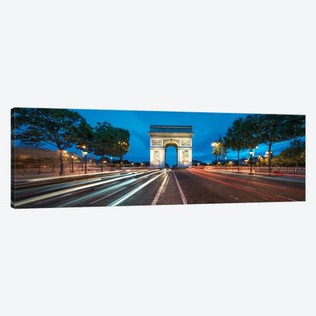 Panoramic View Of The Arc De Triomphe At Dusk, Paris, France Canvas Print #JNB923} by Jan Becke Canvas Art