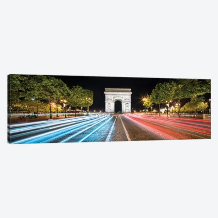 Panoramic View Of The Arc De Triomphe At Night, Paris, France Canvas Print #JNB924} by Jan Becke Art Print