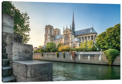 Notre-Dame De Paris Along The Banks Of The Seine, Paris, France Canvas Art Print