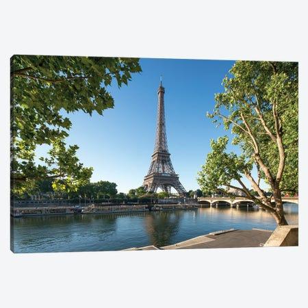Eiffel Tower Along The Banks Of The Seine River, Paris, France Canvas Print #JNB930} by Jan Becke Canvas Art Print