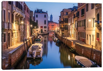 Romantic Canal In Venice, Italy Canvas Art Print