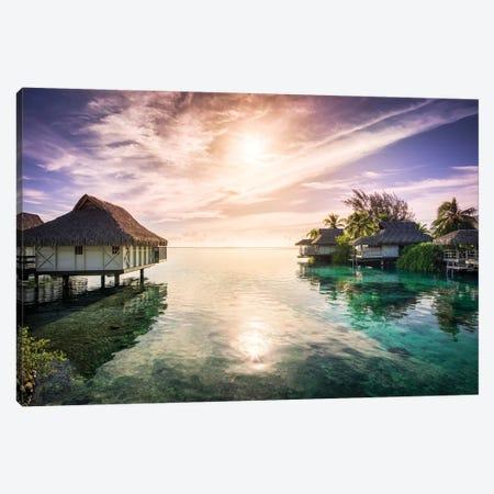 Romantic Sunset On Bora Bora Canvas Print #JNB94} by Jan Becke Art Print