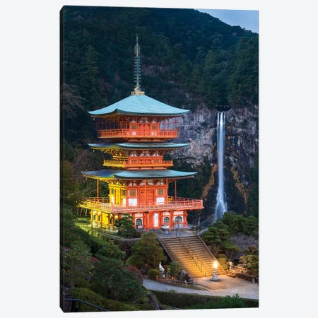 Seiganto-Ji Pagoda And Nachi Falls Canvas Print #JNB97} by Jan Becke Canvas Art Print